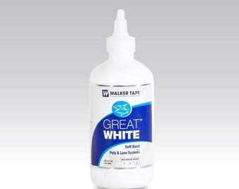 Great White Adhesive 8 ounce twist top seal.