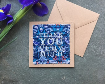 Thank You Very Much Silver Metallic Embroidered Liberty William Morris Print Fabric Handmade Card