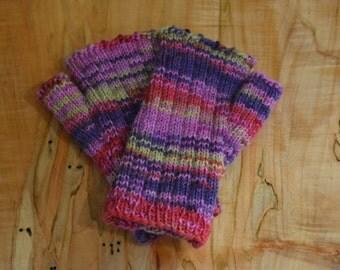 Short Fingerless Gloves, hand knit, striped