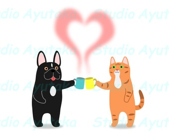 cat and dog clipart, cat and dog holding steaming cups, steams making heart clipart