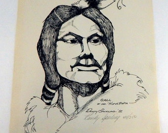 VIntage Gall Of The Hunkpapa By Randy Sperling 1972 - Original Signed Ink Etching 44/250 - Native American - Indian