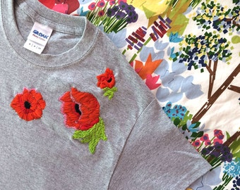 SALE! Poppies Embroidered Shoulder T-Shirt