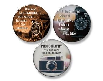 """PHOTOGRAPHER / PHOTOGRAPHY Fridge Magnet Set - 3 Large 2.25"""" Round Magnets (Set #1)"""