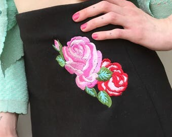 Bespoke embroidered a line skirt tea party roses tattoo flash