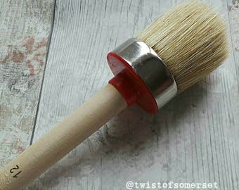 Large - 45mm - Pure Bristle Round Oval Paint Brush - Suitable for Solvent Based, Chalk & Emulsion Paints - Shabby Chic - Furniture Painting