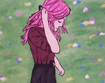 Girl in a meadow print