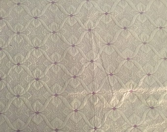 Beautiful homemade machine embroidered queen quilt lilac on white