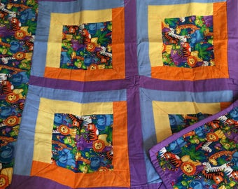 Baby or toddler quilt.  Very bright colors.  36x48. Suitable for boy or girl