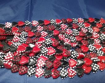 Lampwork heart/love beads w/dots