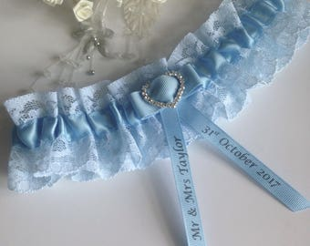 Personalised wedding garter - Light Blue Lace, available in S/M and plus/large sizes