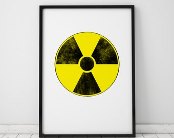 Radioactive Sign Print Nuclear Fallout Shelter Art Post Apocalyptic Instant Download Printable Art Prints Wall Art Wall Decor