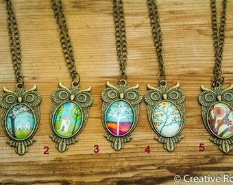 Resin Owl - Necklace, Colorful, Flower, House
