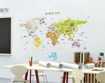 Kids World Map Decals/world Map Decals Stickers/world Map Baby Child Wall  Decor