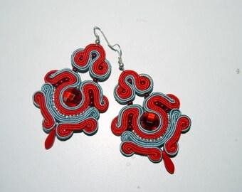 Red, red-grey soutache earrings, earrings, soutache drop earrings, drop earrings