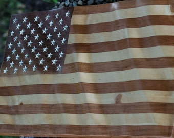 American Flag carved Walnut, Cherry and Pine wood
