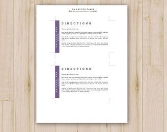 purple recipe cards etsy