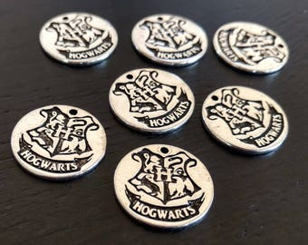 4 Harry Potter Charms Hogwarts Crest | Hogwarts Charm | Harry Potter School | Silver | Bulk Charms | Ready to Ship from USA | AS406-4