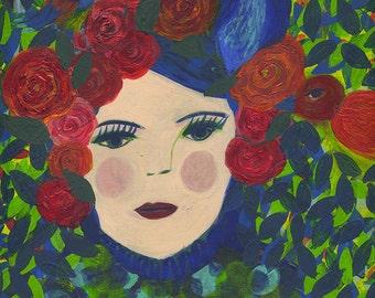 Original painting on paper - Femme aux oiseaux - Woman with birds -