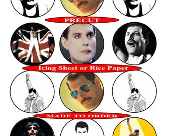 Freddy Mercury pre-cut edible cupcake toppers, 2 sizes