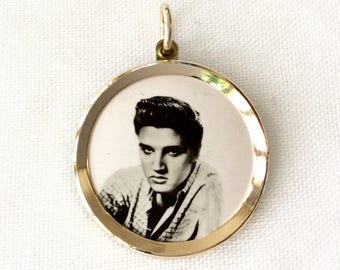 Elvis Presley Pendant, 1950s dress, retro jewelry, Elvis jewelry, rock and roll jewelry
