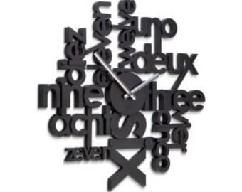 Wall clock numbers black modern clock