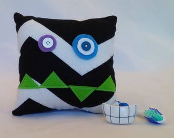 Monster Tooth Fairy Pillow - black chevron, green teeth, blue back