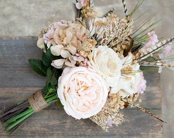 Boho Bouquet, Feather Bouquet, Blush Gold Beige Wedding Bouquet, Rustic Bridal Bouquet, Silk Flower Bouquet, Blush and Gold Bouquet