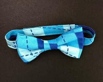 REDUCED!! Little Boys Adjustable Bow Tie, Bow Tie for Toddlers, Baby's Patchwork Blue Bowtie, Toddlers Adjustable Blue Bow Tie; Baby Bow Tie