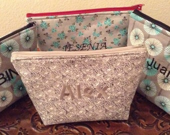 Simply Alex Zipper Pouch, Makeup Pouch, Travel Bag, Cosmetics Case, Gift, Personalized, Stand Up Pouch, Accessories Bag