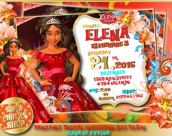 Elena of avalor Digital personalized invitation, elena of avalor Custom Party,Elena of avalor Birthday, elena of avalor party,elena birthday