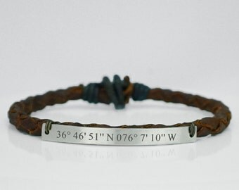 Custom Coordinates Bracelet, Latitude Longitude Bracelet, Silver Bar, Engraved Bracelet, Brown Leather Braided Bracelet, Special Location
