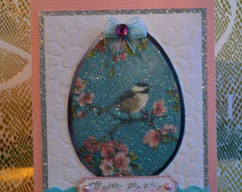 Greeting card,Easter card,Glitter napkin technique, Spring card