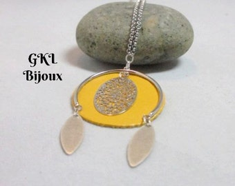 Long necklace, mustard yellow round leather, filigree and sequins leaf mesh steel Belcher chain necklace