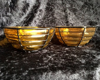 Two Vintage Wire and Glass Bowls