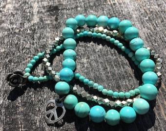 3 Strand Turquoise Stretchy Bracelets