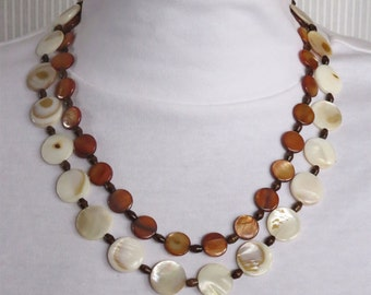 Brown and White Mother of Pearl Necklace