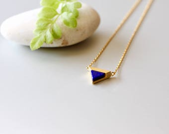 Triangular Lapiz Lazuli Marble Necklace, Gold Necklace, Navy Charm, Geometric Necklace, Everyday Necklace, Gold Dipped Necklace, (SGN14)