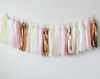 Tassel Garland Pale Rose >>>vanilla, white, light pink, copper mylar...tissue paper tassel garland