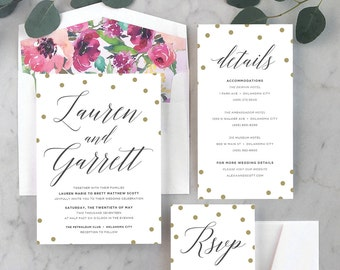 Preppy Confetti Wedding Invitations