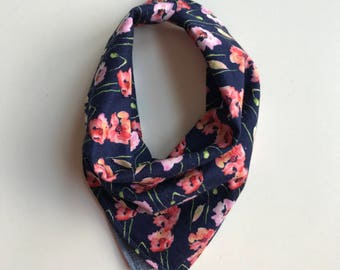 Pastel Floral and Chambray : Reversible Neckerchief in Baby and Kid Sizes