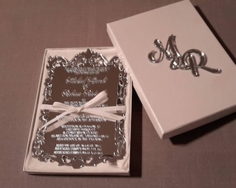 Acrylic boxed wedding and event invitation Fully customised