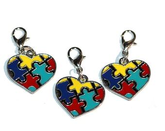 Autism Charms Autism Awareness Puzzle Piece Heart Charm Enamel Heart Autism Pendant with Lobster Clasp Charm Bracelet Charms 3 Pieces