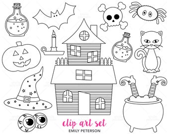 Halloween, Haunted House, Witch - Cute Digital Stamps, Line Art  - Commercial Use, Instant Download