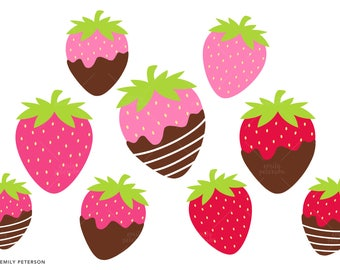Strawberries, Chocolate Covered Strawberry - Cute Clipart, Clip Art - Commercial Use, Instant Download