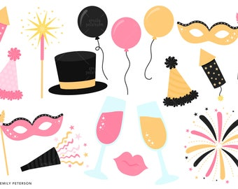 New Year's Eve, New Year, Party, Fireworks - Cute Clipart, Clip Art - Commercial Use, Instant Download