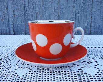 Soviet Vintage Cup and Saucer. Red Cup and Saucer. White Polka Dot. Porcelain. Made in USSR, 1970s. Original USSR Tableware