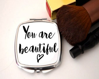 Compact mirror, personalised, bridesmaid thank you, you are beautiful