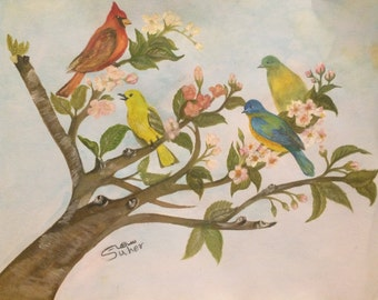 Watercolor painting of Birds on branches