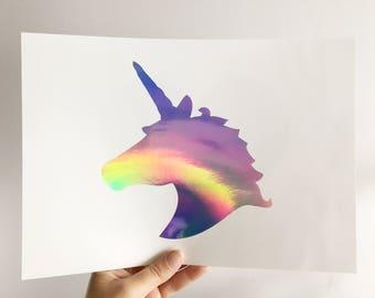 Foil Unicorn Print - REAL foil