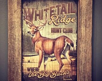 Whitetail Ridge Hunt Club, American Expediton, Cabin Lodge Decor, Mancave Decor, Hunting Decor, Adirondack Decor,Rustic Decor,Whitetail Deer
